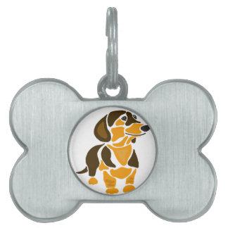 おもしろいで芸術的なダックスフント犬の芸術 ペットネームタグ