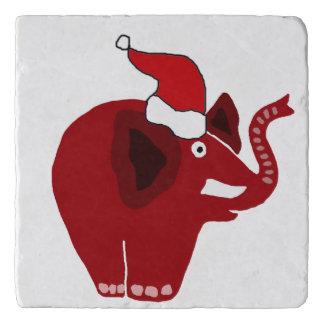 おもしろいで赤いクリスマス象 トリベット