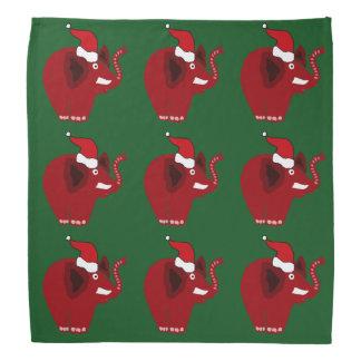 おもしろいで赤いクリスマス象 バンダナ