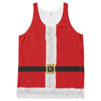 おもしろいで赤いサンタのスーツのフェスティバルのクリスマス オールオーバープリントタンクトップ