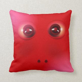 おもしろいで赤いモンスターの顔 クッション