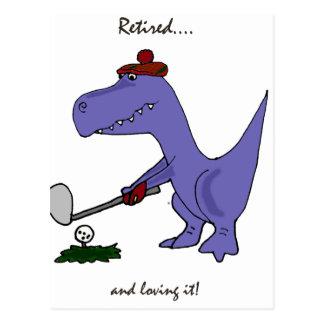 おもしろいで退職したなTレックスの恐竜Gofing ポストカード