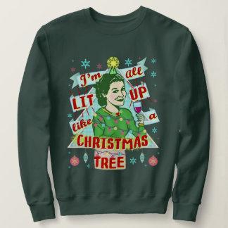 おもしろいで醜いクリスマスのセーターのレトロの飲む女性 スウェットシャツ