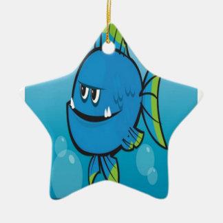 おもしろいで青い魚のデザイン セラミックオーナメント