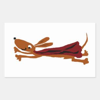 おもしろいで飛んでいるなダックスフントによってすごい犬 長方形シール