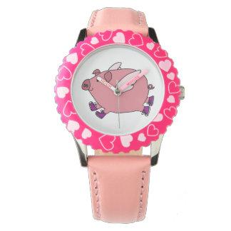 おもしろいで飛んでいるなブタの腕時計のデザイン 腕時計