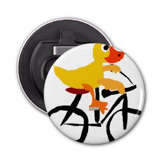 おもしろいで黄色いアヒルの乗馬の自転車 栓抜き
