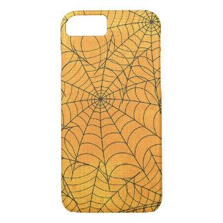 おもしろいで黄色い蜘蛛の巣パターン iPhone 8/7ケース