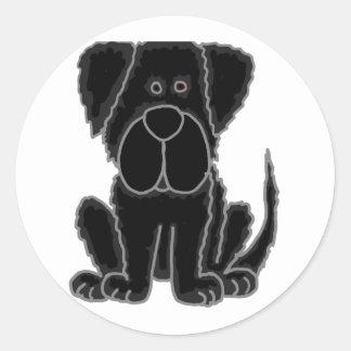 おもしろいで黒いニューファウンドランドの小犬の芸術 ラウンドシール