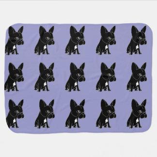 おもしろいで黒いフレンチ・ブルドッグの小犬 ベビー ブランケット