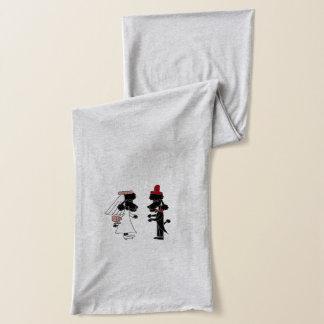 おもしろいで黒いプードルの新郎新婦の結婚式の芸術 スカーフ