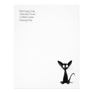 おもしろいで黒い東洋のShorthair猫レターヘッド レターヘッド