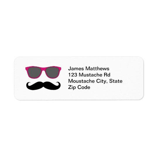 おもしろいで黒い髭およびサングラスの差出人住所 返信用宛名ラベル