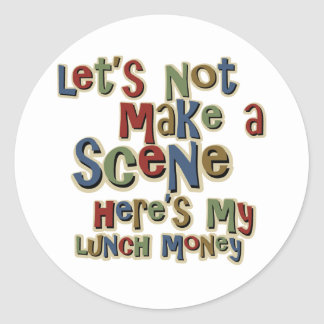 おもしろいないじめっ子の昼食のお金 ラウンドシール