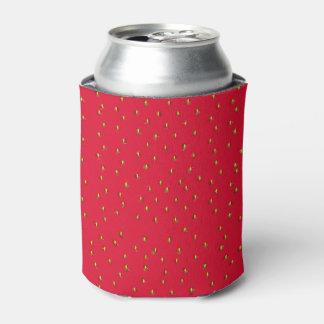 おもしろいないちごの背景の赤 缶クーラー