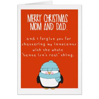 おもしろいなお母さんおよびパパの幸せな休日 カード