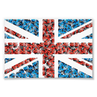 おもしろいなかわいいイギリスの旗の漫画のてんとう虫の昆虫 フォトプリント