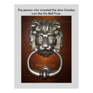 おもしろいなしゃれのライオンのドアノッカーの郵便はがきPostcrossing ポストカード