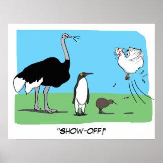おもしろいなだちょうのペンギンのキーウィの飛んでいるな鶏は自慢して見せます ポスター