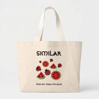 おもしろいなてんとう虫およびスイカのデザインのバッグ ラージトートバッグ