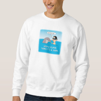 おもしろいなイルカはそれをです鮫のスエットシャツ考えます スウェットシャツ
