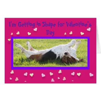 おもしろいなエクササイズのバレンタインデーカードw/Basset猟犬 カード
