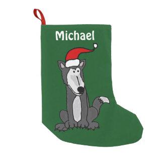 おもしろいなオオカミのクリスマスのストッキング スモールクリスマスストッキング