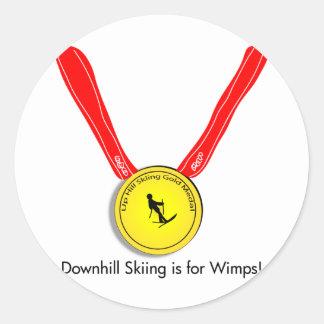 おもしろいなオリンピック滑降競技のデザイン ラウンドシール