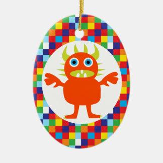 おもしろいなオレンジモンスターの創造物明るい色のブロック セラミックオーナメント