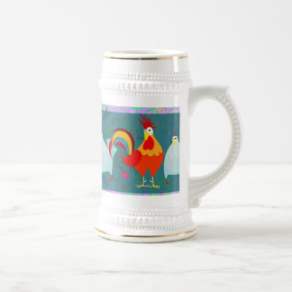 おもしろいなオンドリの雌鶏のファンキーな養鶏場動物のギフト ビールジョッキ