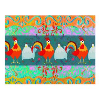 おもしろいなオンドリの雌鶏のファンキーな養鶏場動物のギフト ポストカード