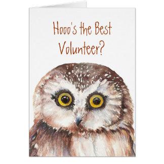 おもしろいなカスタムのボランティアか。 誕生日、賢いフクロウのユーモア カード