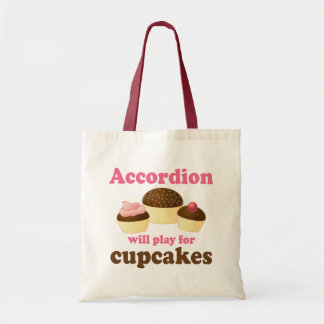 おもしろいなカップケーキのアコーディオン音楽引用文のギフト トートバッグ