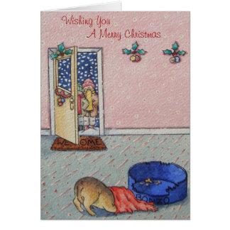 おもしろいなキャロルの歌手のクリスマスを隠しているかわいい子犬 カード