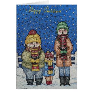 おもしろいなキャロルの歌手の雪場面クリスマスのデザイン カード
