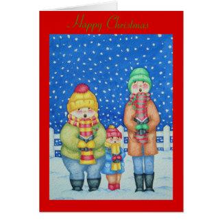 おもしろいなキャロルの歌手の雪場面クリスマスのデザイン グリーティングカード