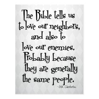 おもしろいなキリスト教の宗教引用文GK Chesterton ポストカード