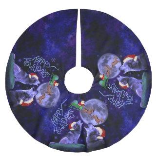 おもしろいなクリスマスの安っぽい幸せなHowlidaysのオオカミのしゃれ ブラッシュドポリエステルツリースカート