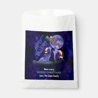おもしろいなクリスマスの幸せなHowlidaysのオオカミのしゃれのパーティー フェイバーバッグ