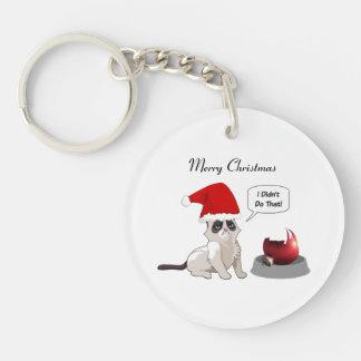 おもしろいなクリスマスの気難しい子ネコ円形のKeychain キーホルダー
