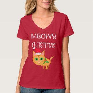 おもしろいなクリスマスの猫好きのV首のTシャツ Tシャツ