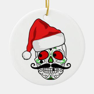 おもしろいなクリスマスの砂糖のスカル セラミックオーナメント