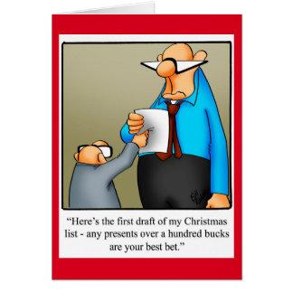 """おもしろいなクリスマスの""""初めてのクリスマスのリストの草案""""カード カード"""