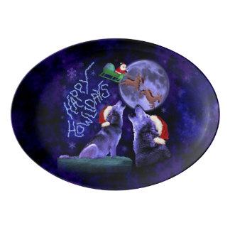 おもしろいなクリスマスのHowlidaysのオオカミ犬のしゃれのパーティー 磁器大皿