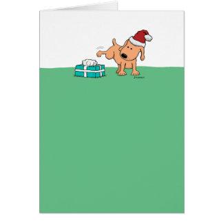 おもしろいなクリスマスカード: 小便をする犬 カード