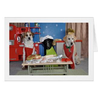 おもしろいなクリスマスカード、3匹の犬の焼けることの写真 カード