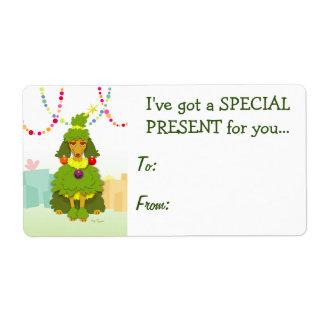 おもしろいなクリスマスツリーのプードル ラベル
