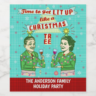 おもしろいなクリスマス・パーティのレトロの大人の飲む休日 ワインラベル