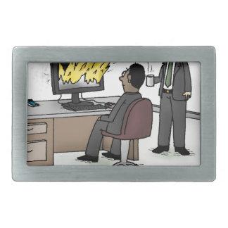 おもしろいなコンピュータおよび技術のオフィスの漫画 長方形ベルトバックル