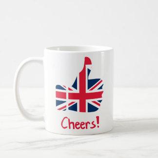 おもしろいなコーヒー・マグのギフト-応援のイギリスの旗の親指 コーヒーマグカップ